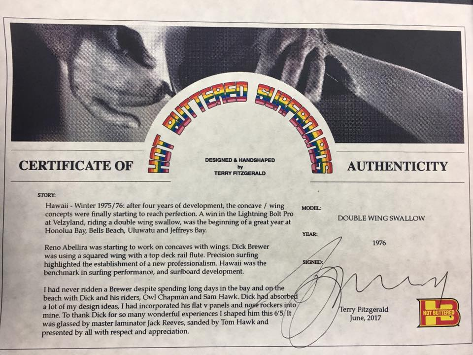 Hot Buttered Terry Fitzgerald for Dick Brewer Certificate of Authenticity.jpg